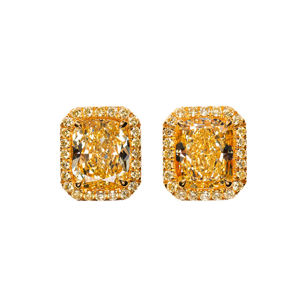 Cushion cut yellow and white removeable jackets studs (Fancy intense yellow)