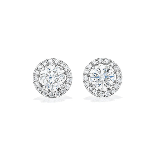 Eternal 4 Prongs Diamond Earrings with Diamond Halo
