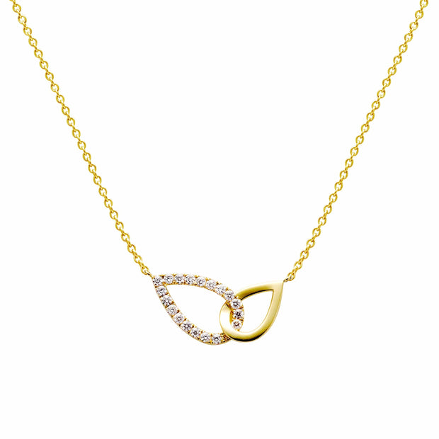 Two Pear Shapes Diamond Necklace