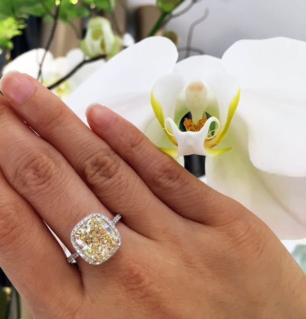 Cushion Cut Micropave Yellow & White Diamond Ring