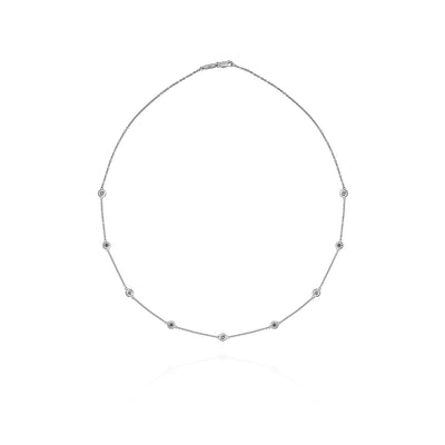 Bezel-Set Stationed Diamond Necklace (0.45 Carat)