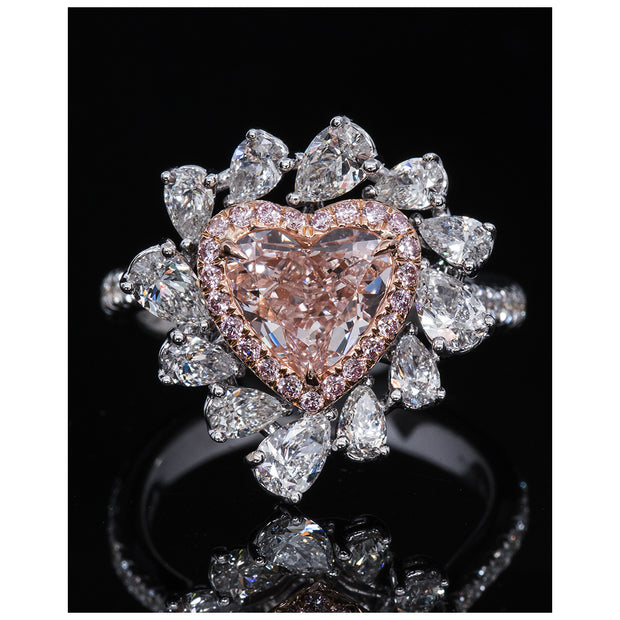 Heart Shape Pink & White Diamond Ring (Fancy Light Orangy-Pink)