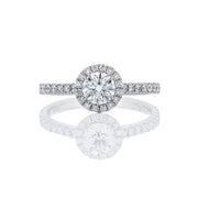 Micropave Halo & Band Solitaire Diamond Ring