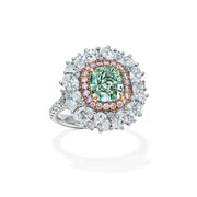 Cushion Cut Green Pink & White Diamond Ring (Fancy Green)