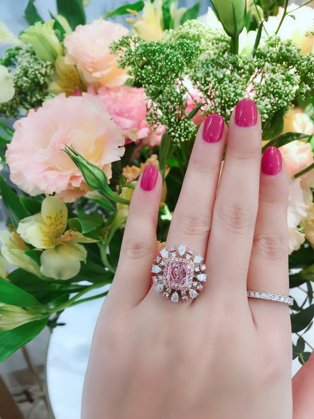 Radiant Cut Pink & White Diamond Ring