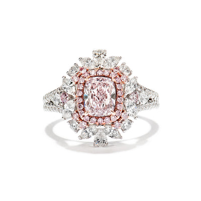 Cushion Cut Pink & White Diamond Ring
