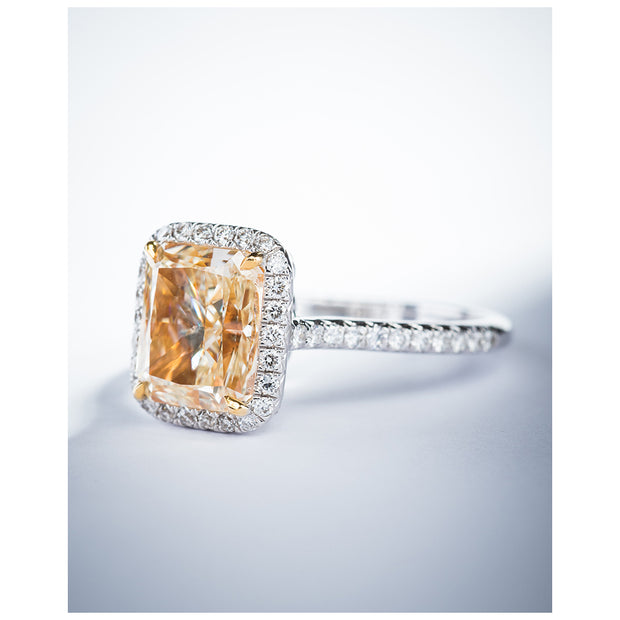 Radiant Cut Micropave Yellow & White Diamond Ring