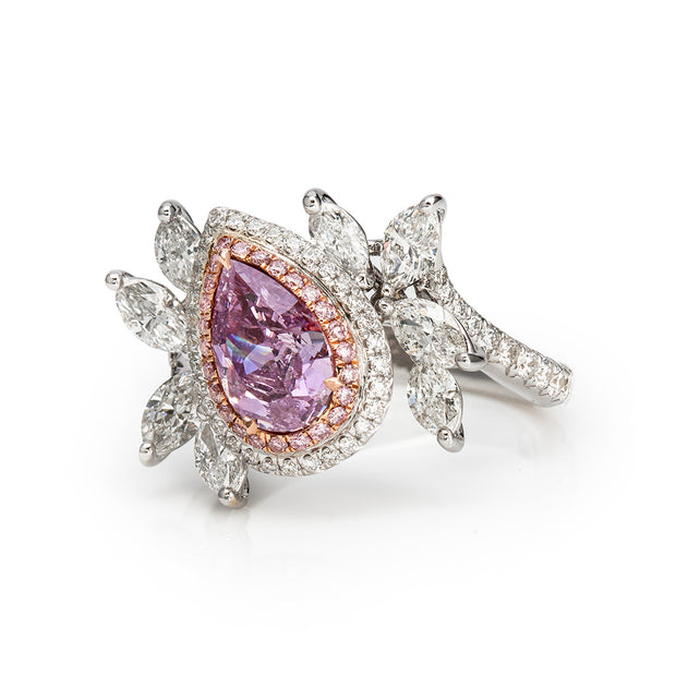 Pear Shape Pink & White Diamond Ring (Fancy Intense Pink-Purple)