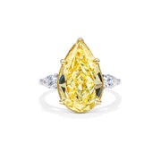Pear Shape Yellow & White Diamond Ring