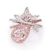 Pear Shape Pink & White Diamond Ring (Faint Pink)