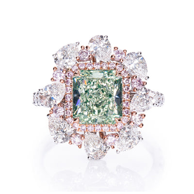 Radiant Cut Green Pink & White Diamond Ring (Light Yellowish Green)