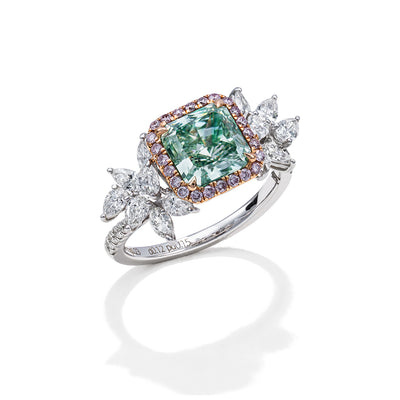 Radiant Cut Green Pink & White Diamond Ring (Fancy Green)
