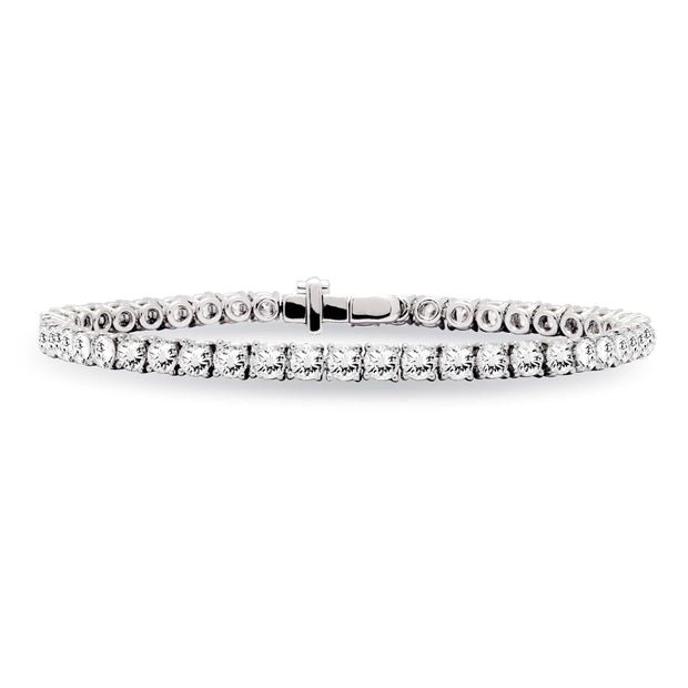Three Prongs One Line Diamond Tennis Bracelet