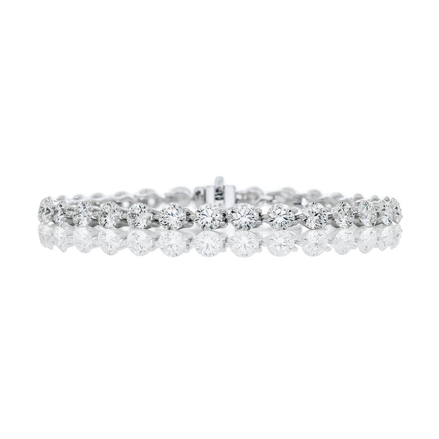 """BIG"" Three Prongs One Line Diamond Tennis Bracelet"