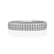 Four Prongs Three Line Diamond Tennis Bracelet