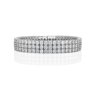 Round Brilliant Three Line Diamond Bangle