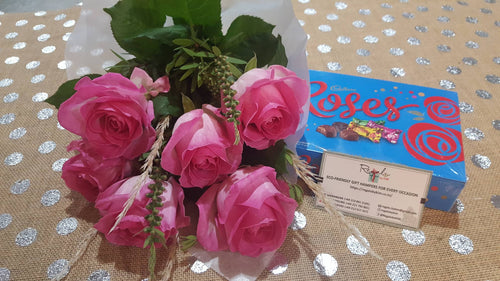 Roses Bouquet and Chocolates Hamper