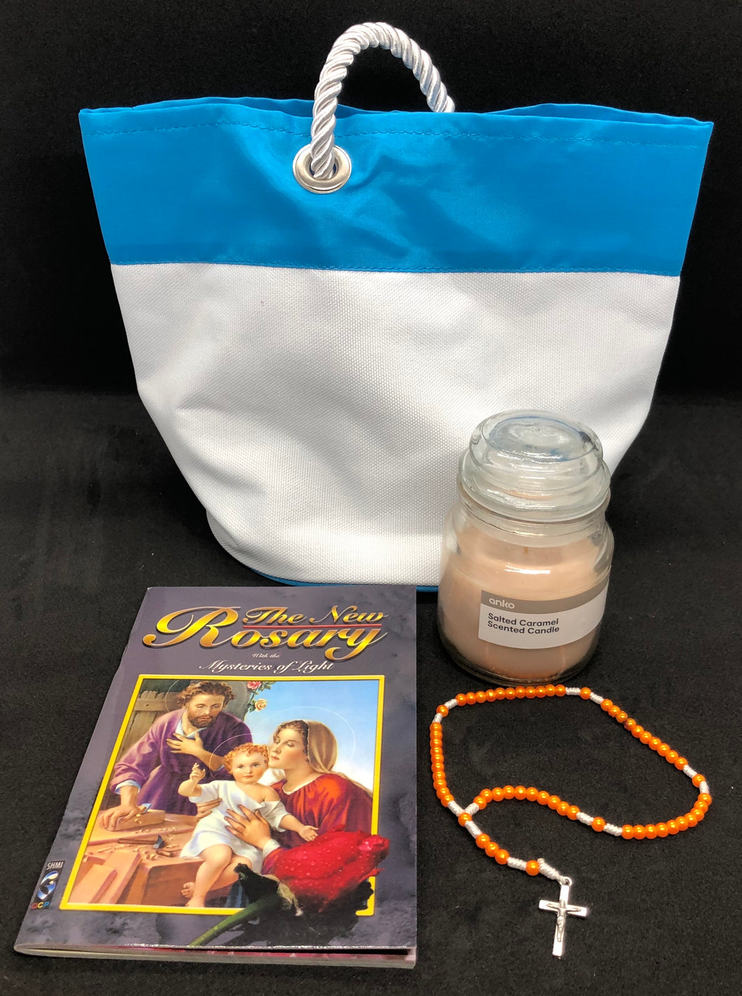 Rosary Beads & Booklet Gift Hamper The New Rosary Booklet Coloured rosary (colour may vary) Scented candle  Reusable bag