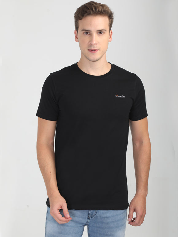 Foranje Men Cotton Crew Neck T-Shirt - Black