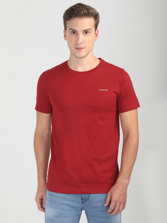 Foranje Men Cotton Crew Neck T-Shirt - Rust Red