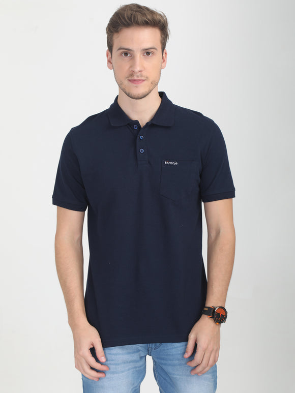 Foranje Men Cotton Polo T-Shirt - Navy Blue