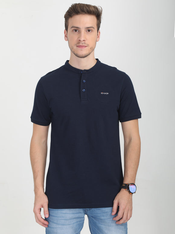 Foranje Men's Chinese Collar Navy Blue TShirt
