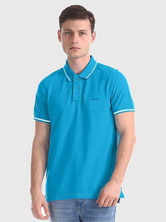 Foranje Men Cotton Polo T-Shirt - Turquoise