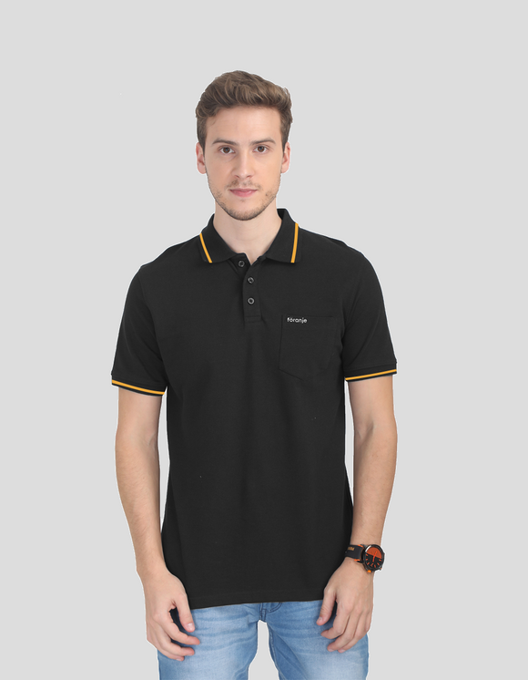 Foranje Men Cotton Polo T-Shirt - Black