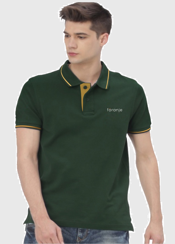 Foranje Men Cotton Polo T-Shirt - Green
