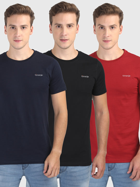 Foranje Men Cotton Crew Neck T-Shirt (Pack of 3)