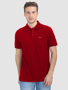Foranje Men Cotton Polo T-Shirt - Red