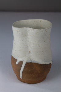 Small Drippy White Altered Vase