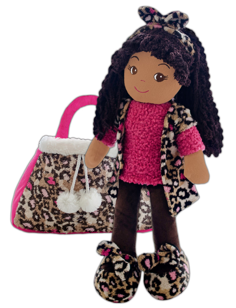 New! Emme Pink Leopard Toddler Doll & Purse set