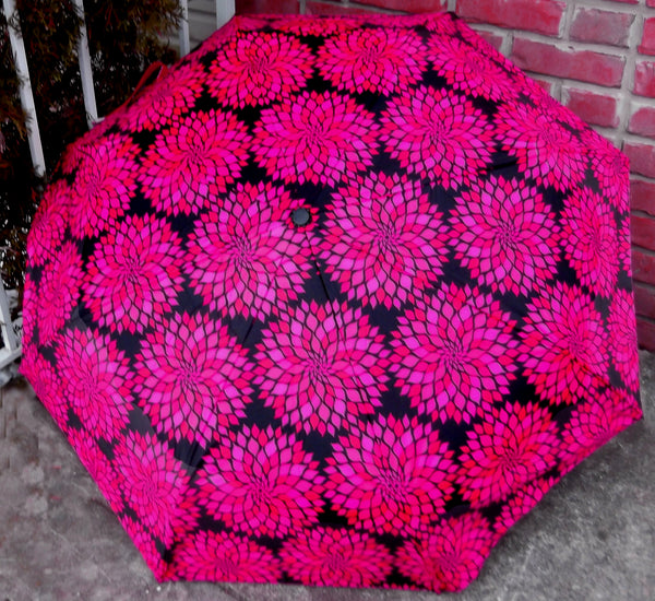 Black Flower Bloom Compact Umbrella-auto open/close sale!
