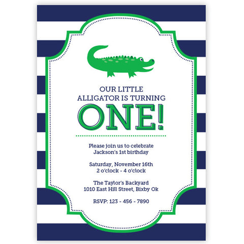 Alligator Birthday Invitation