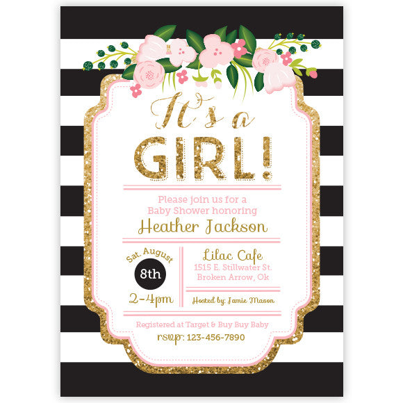 Floral Black & Gold Glitter Baby Shower Invitation