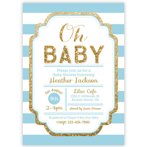 Pink And Gold Glitter Baby Shower Invitation Aditional Colors