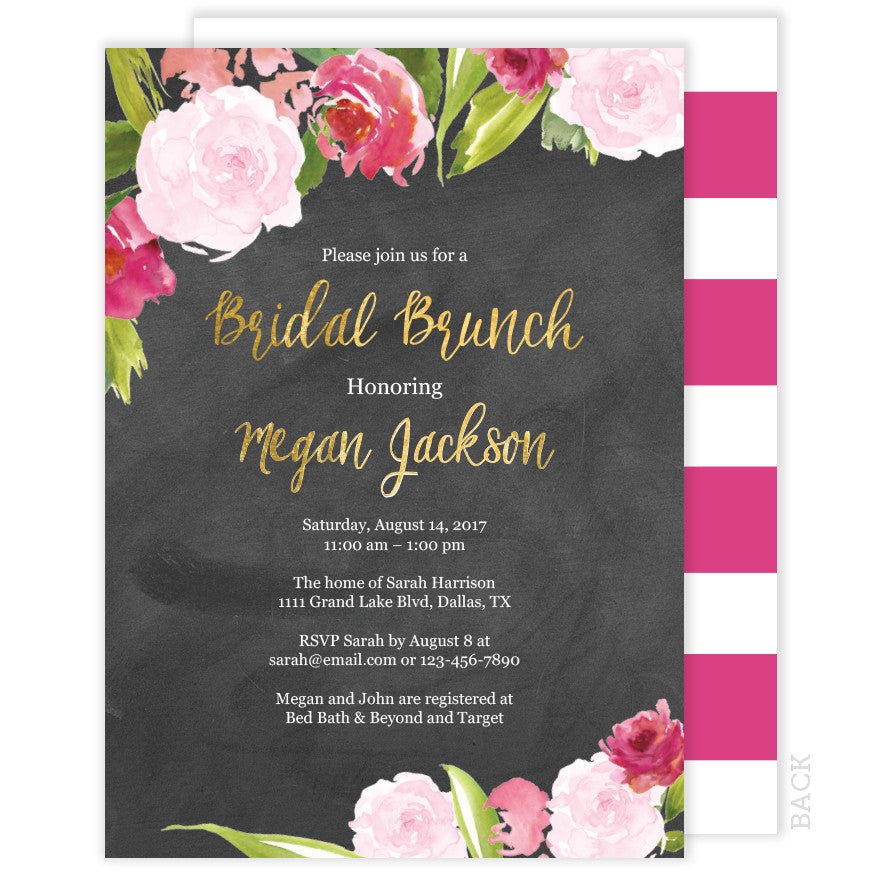 Chalkboard Bridal Brunch Invitation - Floral Watercolor