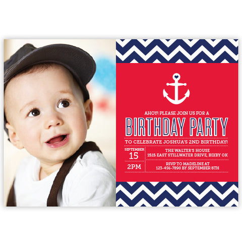 Chevron Anchor Birthday Invitation