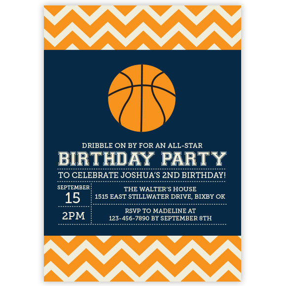 Chevron Basketball Invitation