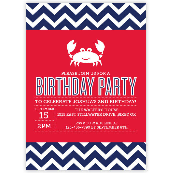 Chevron Crab Invitation