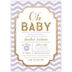 Baby Shower Invitation - Chevron Pink and Gold Glitter Baby Shower Invitation - aditional colors avalable