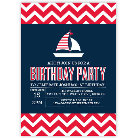 Chevron Nautical Sail Boat Birthday Invitation