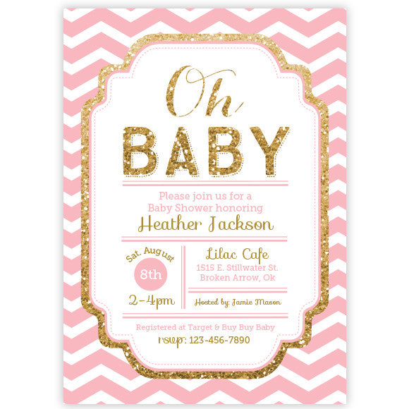 baby shower invitation chevron pink and gold glitter baby shower inv