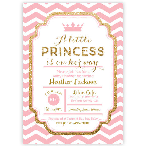 Chevron Princess Baby Shower Invitation - Pink and Gold Glitter