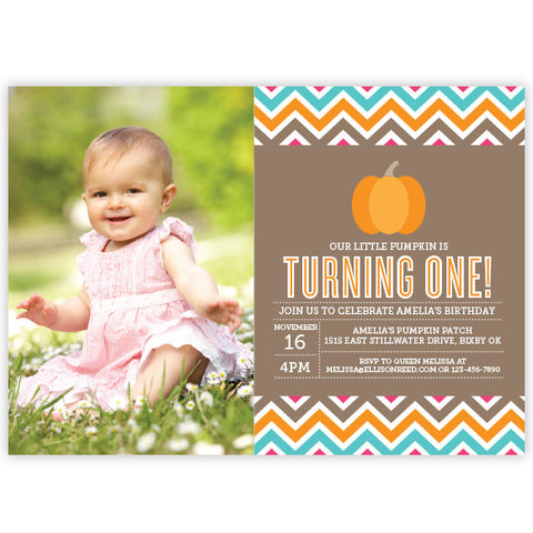 Chevron Pumpkin Invitation