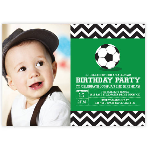 Chevron Soccer Birthday Invitation