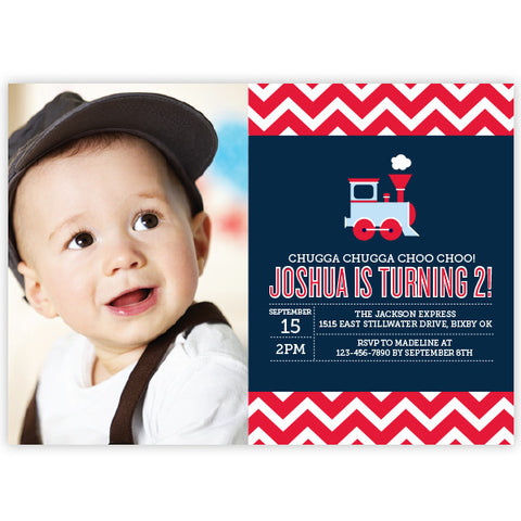 Chevron Train Birthday Invitation