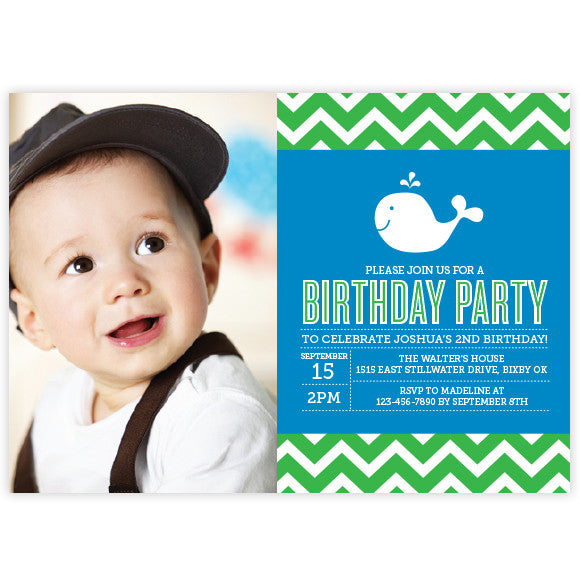 Chevron Whale Birthday Invitation