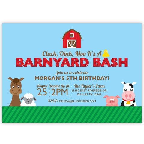 Farm Birthday Invitation - Barnyard
